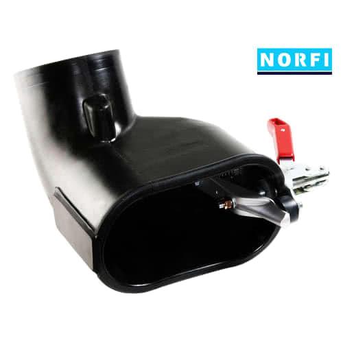 Вытяжная насадка с левосторонним зажимом  205х110мм DN150. Norfi (Германия)