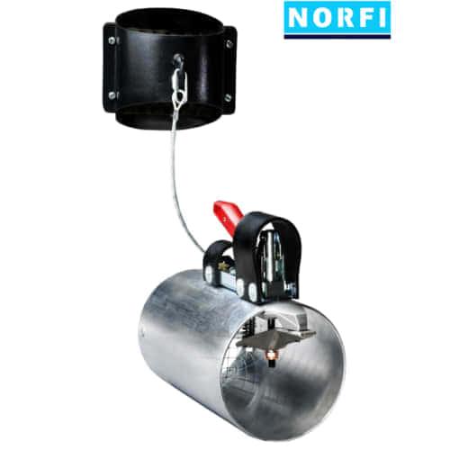 Вытяжная насадка, самоотсоединяющаяся, с механическим подсоединением Ø119мм DN125. Norfi (Германия)