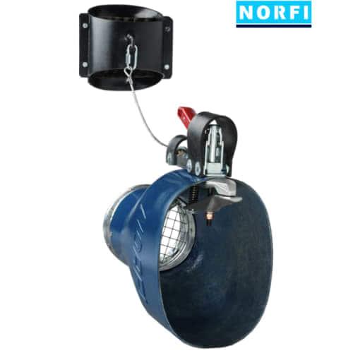 Вытяжная насадка, самоотсоединяющаяся, с механическим подсоединением 225х175мм DN150. Norfi (Германия)